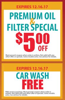 Premium Oil & Filter Special and Car Wash