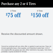 Purchase any 2 or 4 Tires