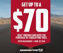 Receive Up To A $70 Visa Prepaid Card w/General Tire