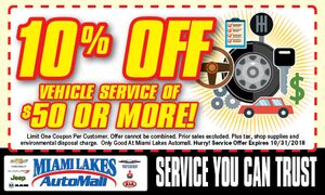 10% OFF Vehicle Service of $50 or More!