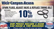 10% Off Spark Plugs, Adjust Valve and Replace Timing Belt