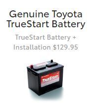 $129.95  Genuine Toyota TrueStart Battery