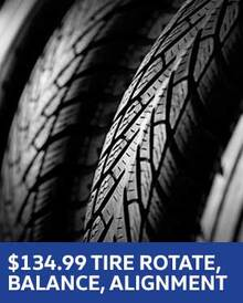 $134.95 Tire Rotation, Balance and Alignment - Volkswagen