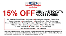 15% Off Genuine Toyota Accessories