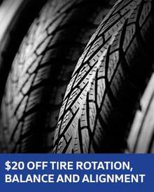 $20 OFF Tire Rotation, Balance and Alignment - VW