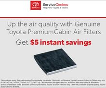 $5 off Toyota Cabin Air Filters
