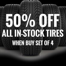 Up to 50% OFF ALL IN-STOCK TIRES!