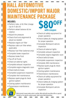 $80 off Major Mainenance Package