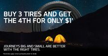 BUY 3 TIRES AND GET THE 4TH FOR ONLY $1