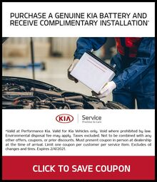 COMPLIMENTARY INSTALLATION OF KIA BATTERY