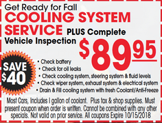 Cooling System Service PLUS Complete Vehicle Inspection