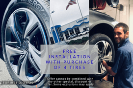 FREE INSTALLATION WITH PURCHASE OF 4 TIRES