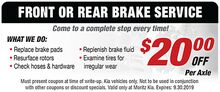 Front or Rear Brake Service
