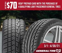 General Tire - Receive Up To A $70 Visa Prepaid Card