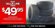 New Value Line Tires $49.95