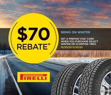Receive a $70 Visa Prepaid Card from Pirelli Tire