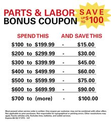 Parts & Labor Bonus Coupon