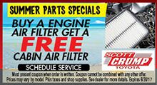 Free Cabin Air Filter w/Purchase of Engine Air Filter