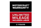 MOTORCRAFT® WARRANTY: TWO YEARS. UNLIMITED MILEAGE. INCLUDES
