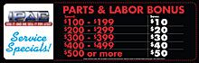 Parts & Labor Bonus Special