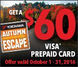 Receive up to $60.00 Yokohama Visa Prepaid card w/ rebate