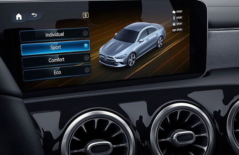 closeup of infotainment display in 2020 mercedes-benz cla coupe