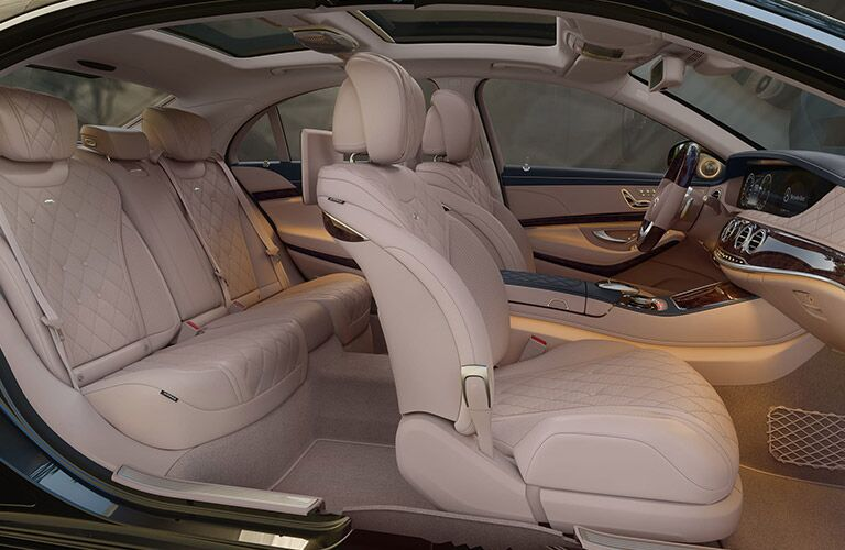 2020 MB S-Class interior front and rear cabin side view seats