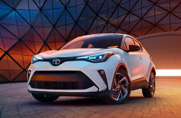 The front side of a white 2020 Toyota C-HR.
