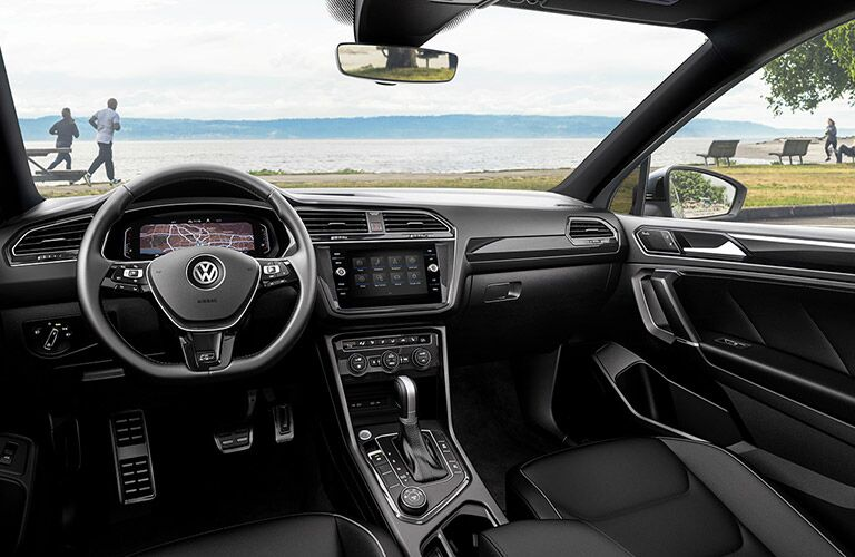 The front interior inside a 2021 Volkswagen Tiguan.