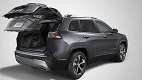 Gray 2019 Jeep Cherokee with back open