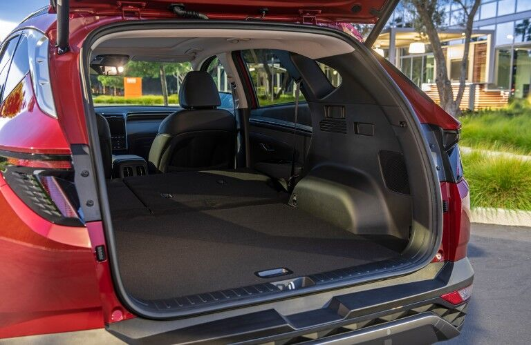 A photo of the cargo area in the back of the 2022 Hyundai Tucson.