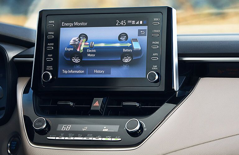 Touch screen in the center console of the 2021 Toyota Corolla Hybrid