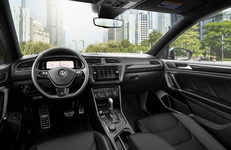 Interior view of the front seating area inside a 2020 Volkswagen Tiguan
