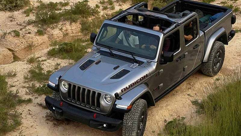 2020 Jeep Gladiator exterior overhead shot with silver metal paint color driving over a bumpy, off-road terrain