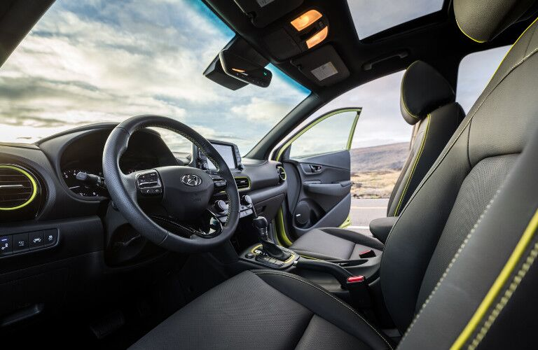 Front seats, steering wheel and dashboard of 2020 Hyundai Kona
