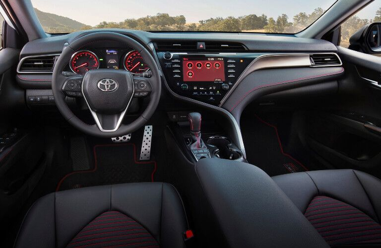 The front interior inside a 2020 Toyota Camry.