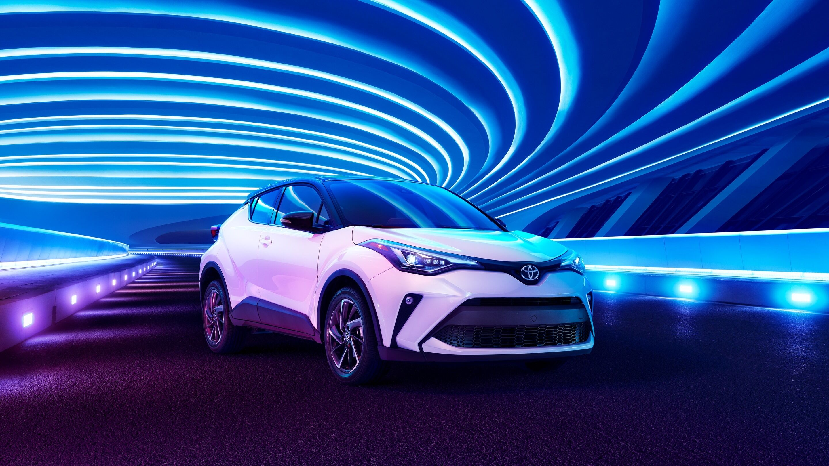 2020 Toyota C-HR with a funky blue background