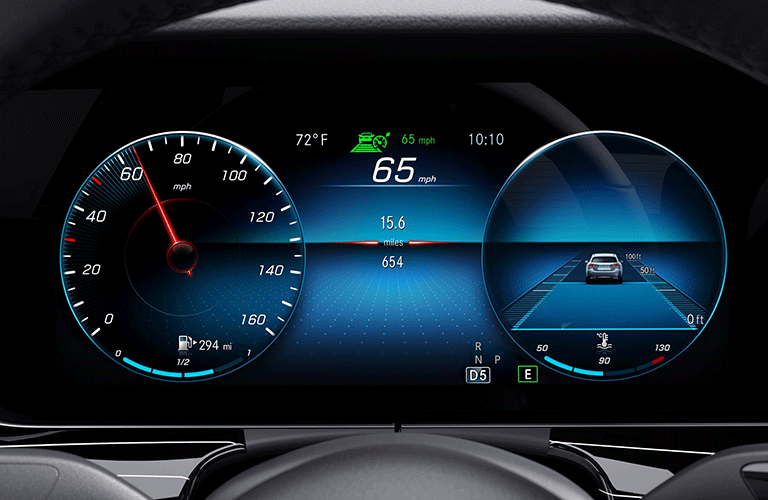 2021 MB E-Class interior close up of digital instrument cluster