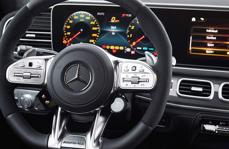 2021 MB GLS interior close up of steering wheel