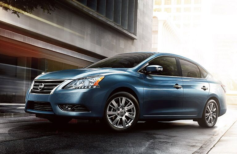 Front driver angle of a blue 2016 Nissan Sentra
