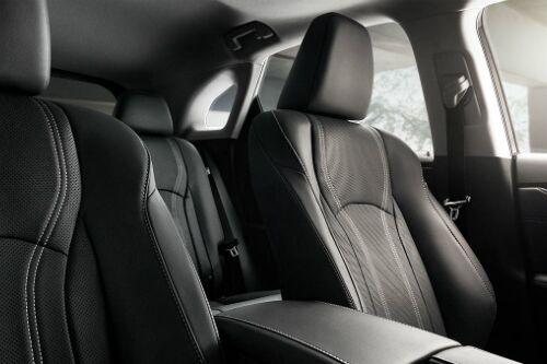 Interior seats viewed from the front of a Lexus RX.