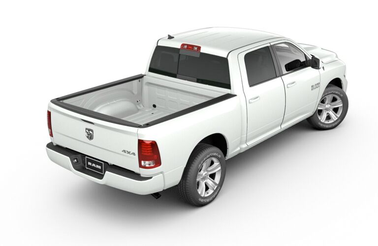 2018 RAM 1500 exterior rear fascia passenger side on white background