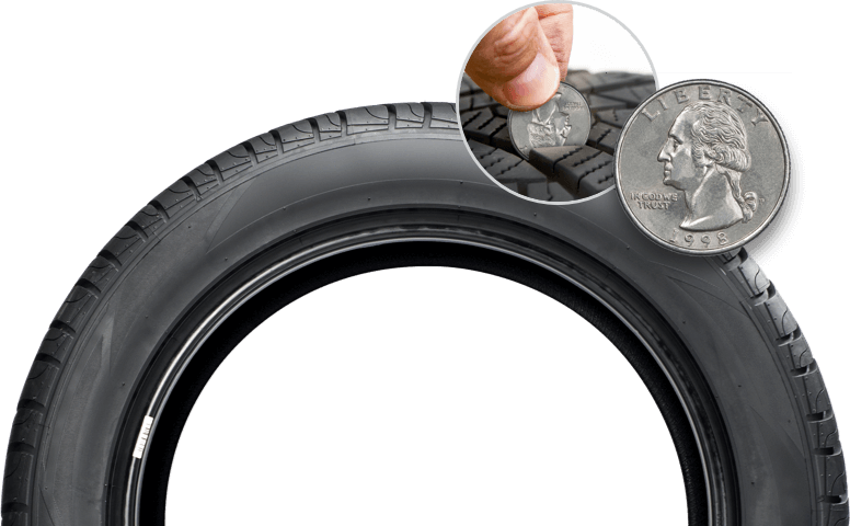 Use the Quarter Test to Check Your Tread