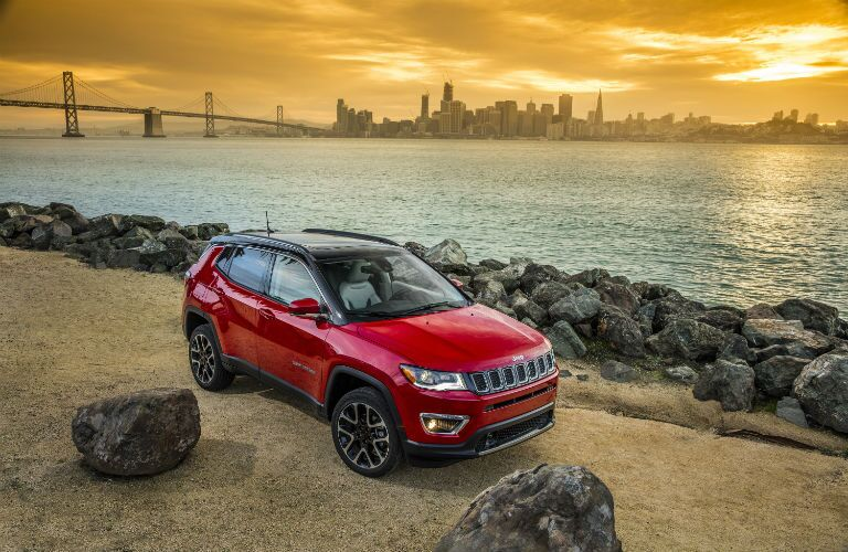 A front right quarter photo of the 2020 Jeep Compass.