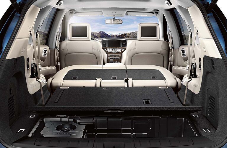 A photo of the cargo bay in the rear of the 2020 Nissan Pathfinder.