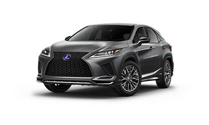 Exterior of the Lexus RX Hybrid F SPORT shown in Nebula Gray Pearl.