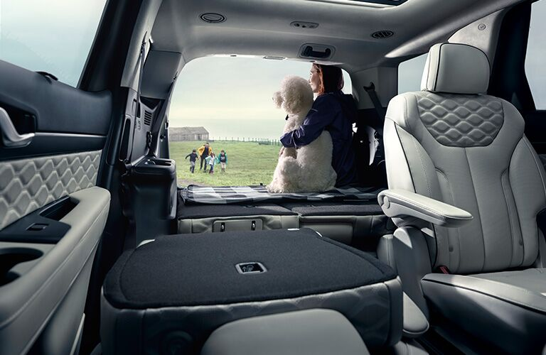A women with a dog at the rear section of a 2020 Hyundai Palisade