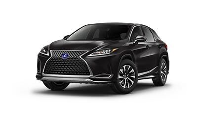Exterior of the Lexus RX Hybrid shown in Caviar.