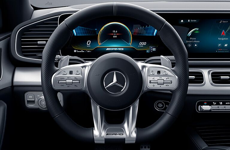 2021 MB AMG GLE interior front cabin close up of steering wheel
