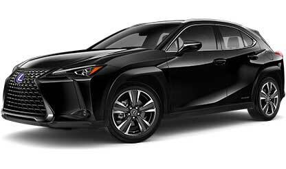 Exterior of the Lexus UX Hybrid shown in Caviar.